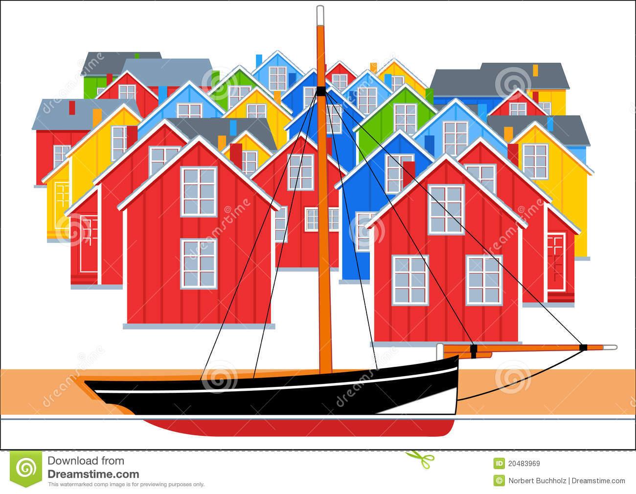 Fishing Village Illustration Royalty Free Stock Images.
