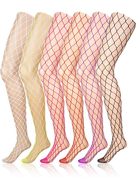 6 Pairs Fishnet Stockings Women\'s High Waist Fishnet Tights for Girls  Ladies (Multicolored, XL Hole).