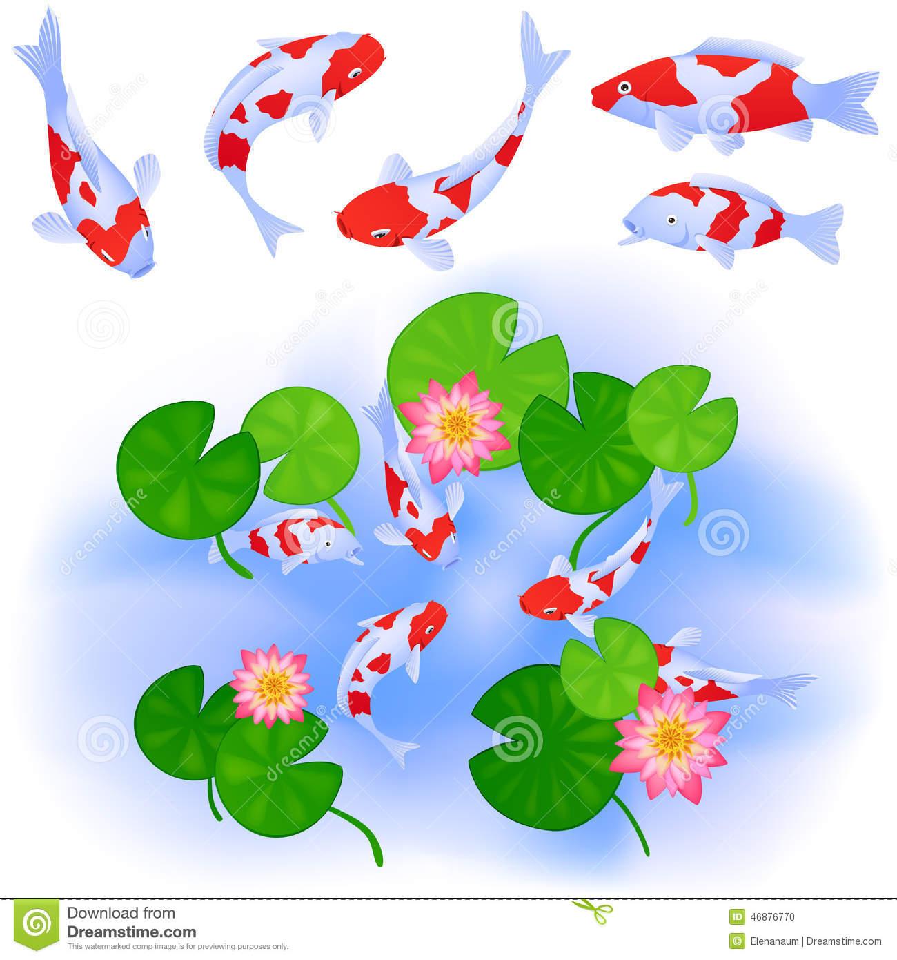 Koi fish pond clipart.