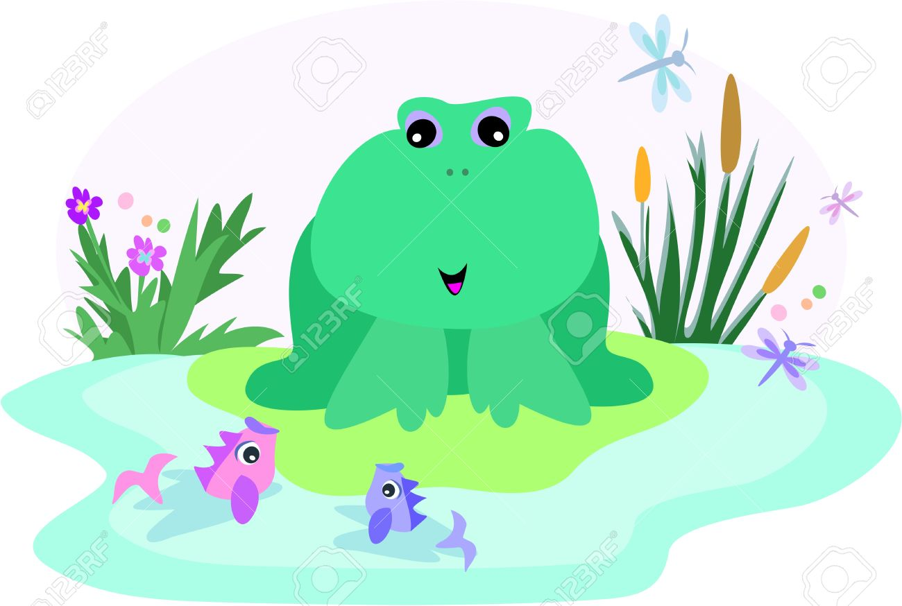 Frog In A Fish Pond Royalty Free Cliparts, Vectors, And Stock.
