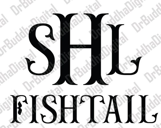 Fishtail Monogram Font SVG Collection.