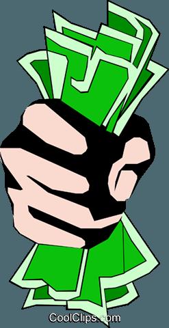 Fist full of dollars Royalty Free Vector Clip Art.