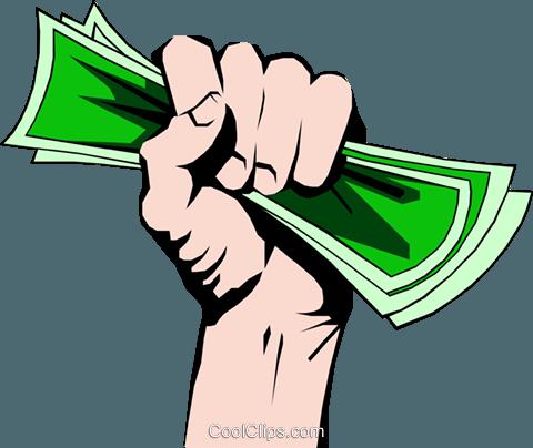 Fist full of money Royalty Free Vector Clip Art illustration.