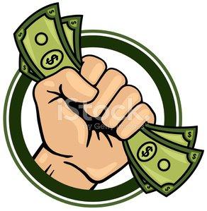 Fist Full of Money Clipart Image.