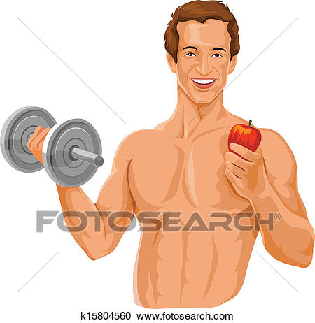Vector of fit man holding dumbbell and an apple. Clipart.