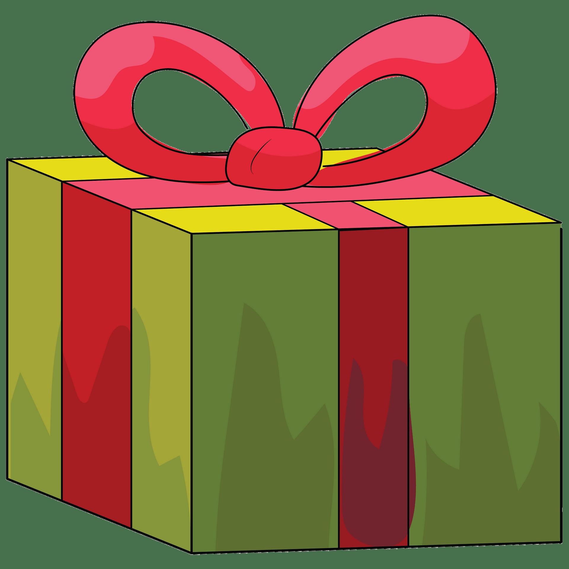 Caixa de presente verde com fita vermelha clipart. Download.