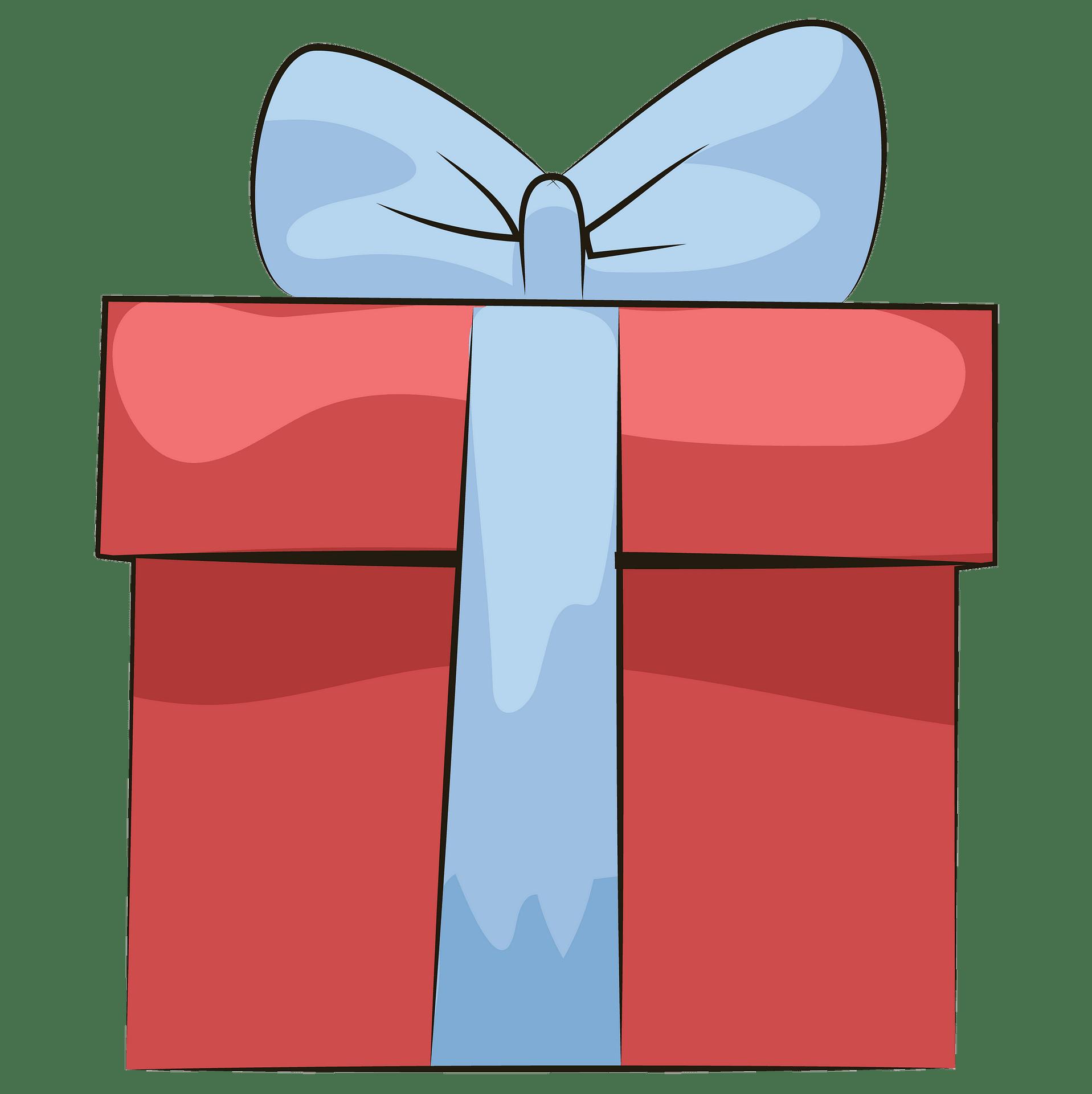 Caixa de presente vermelha com fita azul clipart. Download.