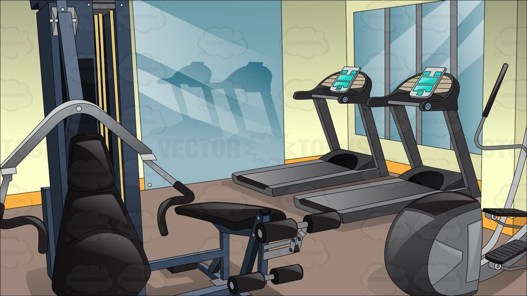 Inside A Small Fitness Center Background.