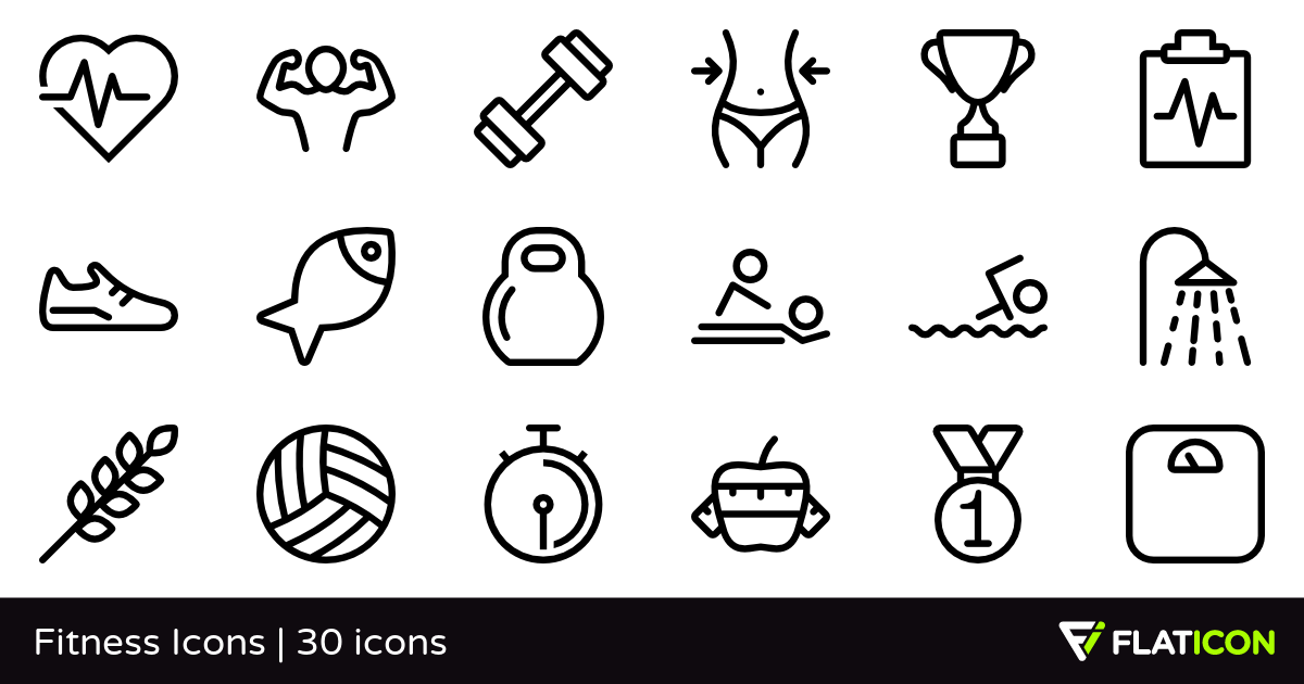 Fitness Icons 30 free icons (SVG, EPS, PSD, PNG files).
