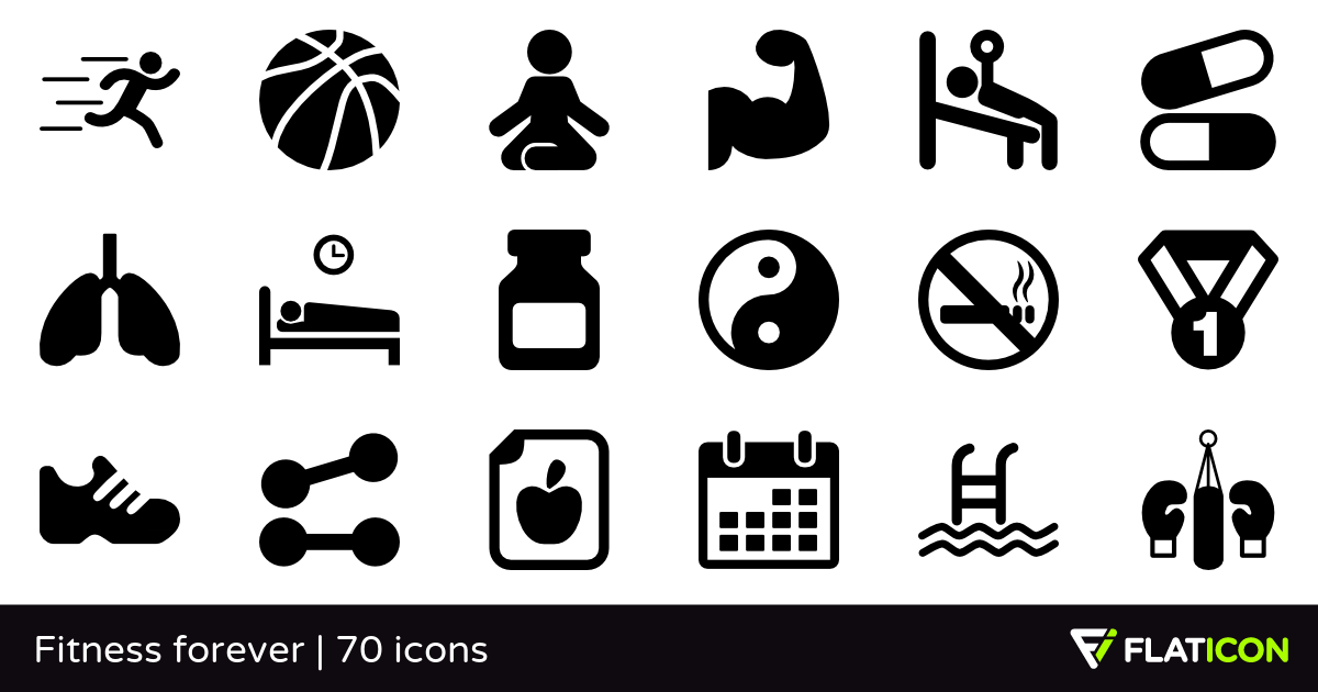 Fitness forever 70 premium icons (SVG, EPS, PSD, PNG files).