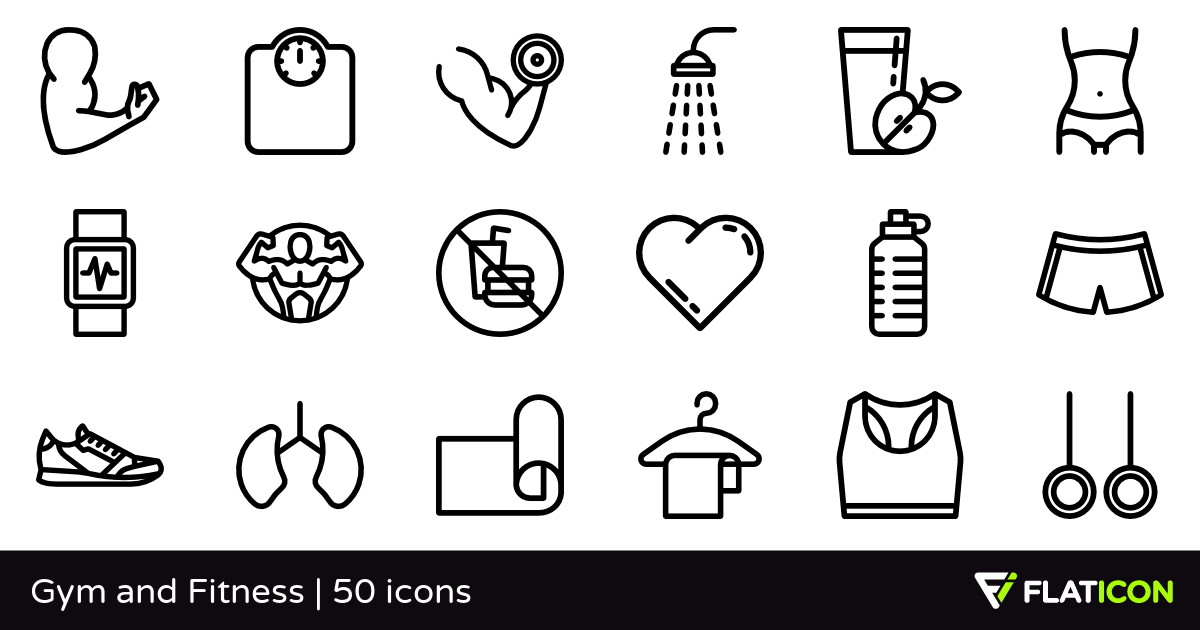 Gym and Fitness 50 free icons (SVG, EPS, PSD, PNG files).