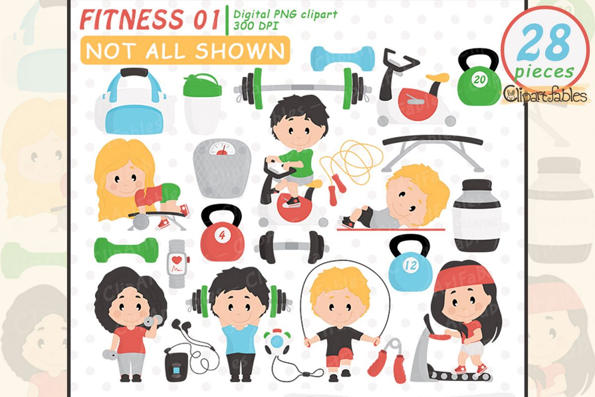 Cute fitness clipart, gym clip art set, workout design, yoga.