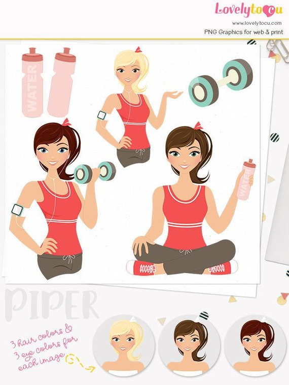 Fitness Woman character clipart, exercise illustration.