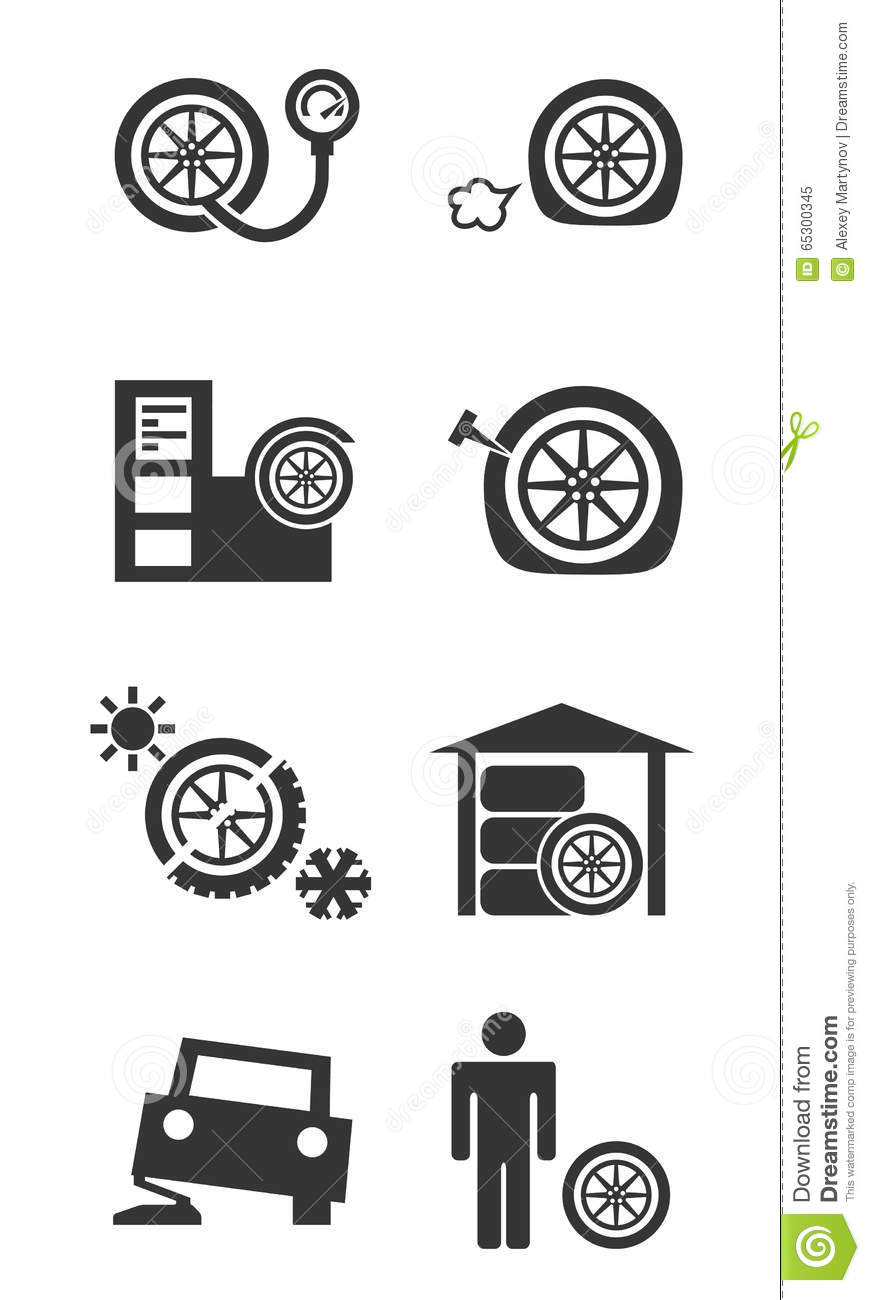 Tire Fitting Shop Icon Set Stock Vector.