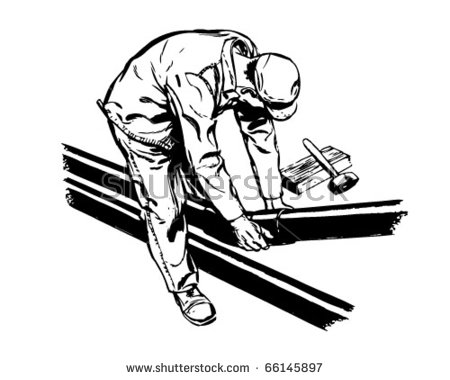 Worker Fitting Pipes Retro Clipart Illustration Stock Vector.
