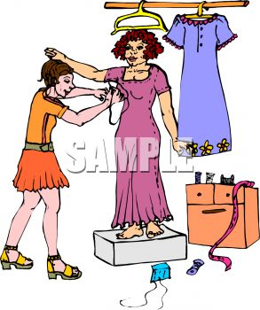 Dress fitting clipart.