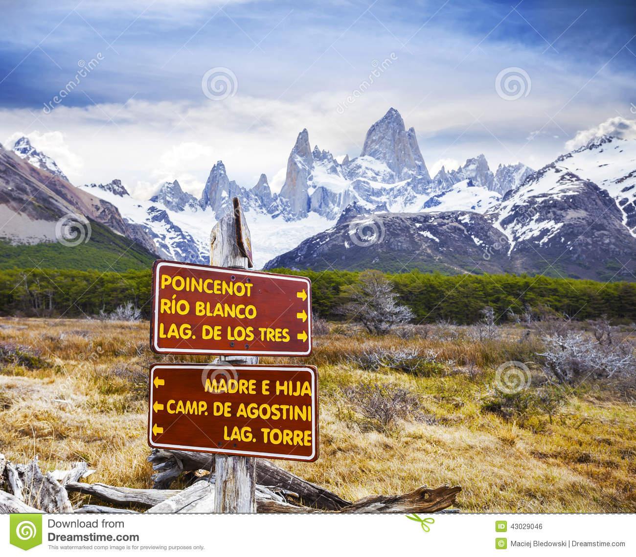 Park Signs In Los Glaciares National Park, Fitz Roy, Argentina.