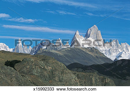 Stock Photo of Mts Fitzroy and torre, Glacier National Park.
