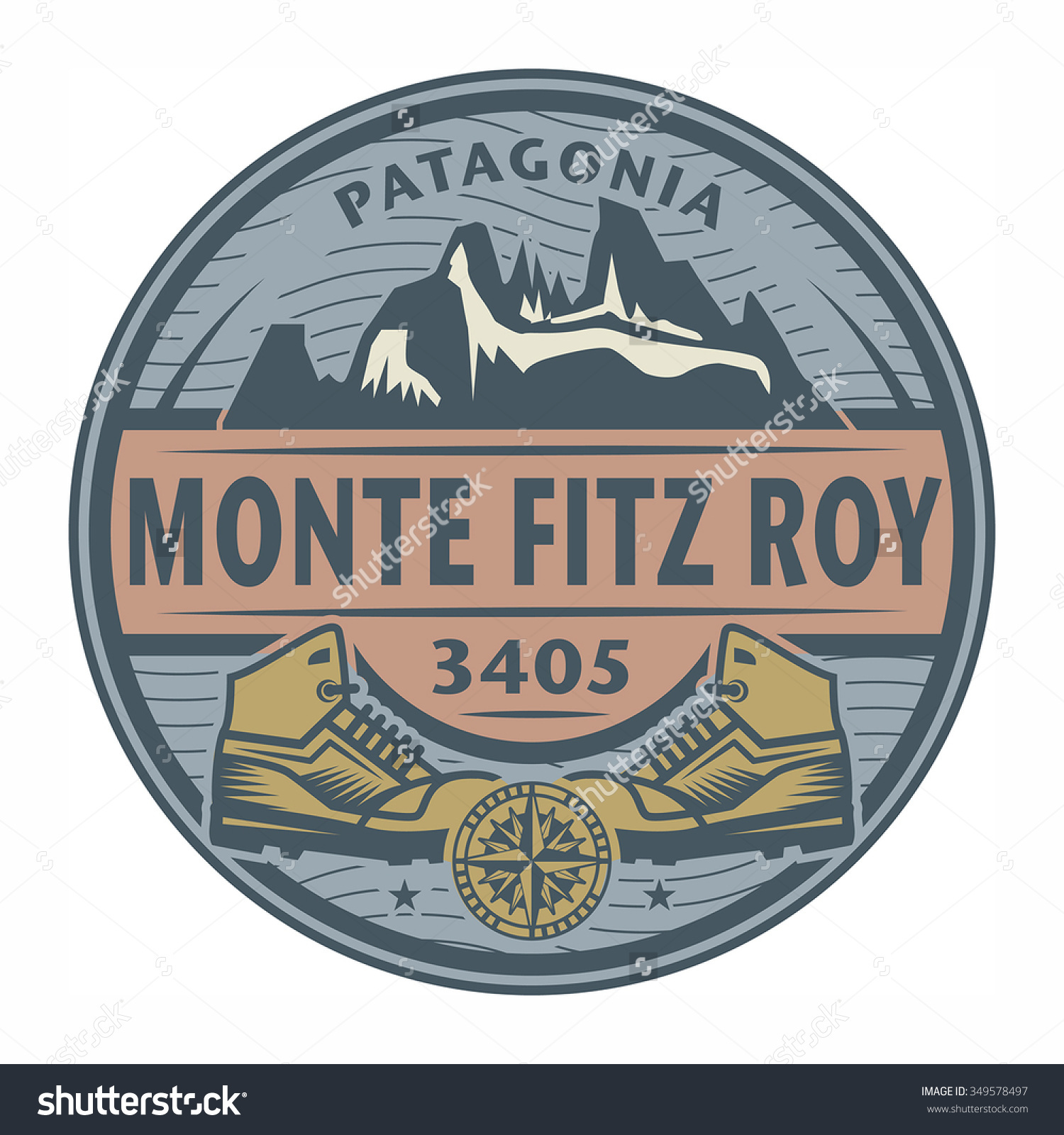 Stamp Emblem Text Monte Fitz Roy Stock Vector 349578497.
