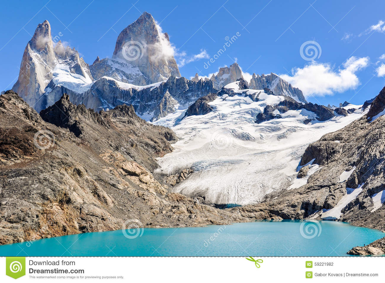 Lagoon, Fitz Roy, El Chalten, Argentina Stock Photo.