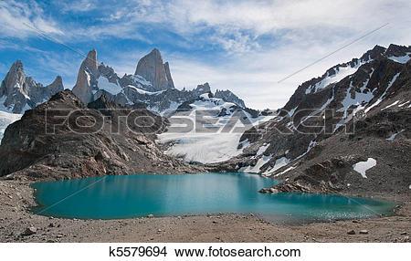 Stock Photo of Fitz Roy mountain and Laguna de los Tres, Patagonia.