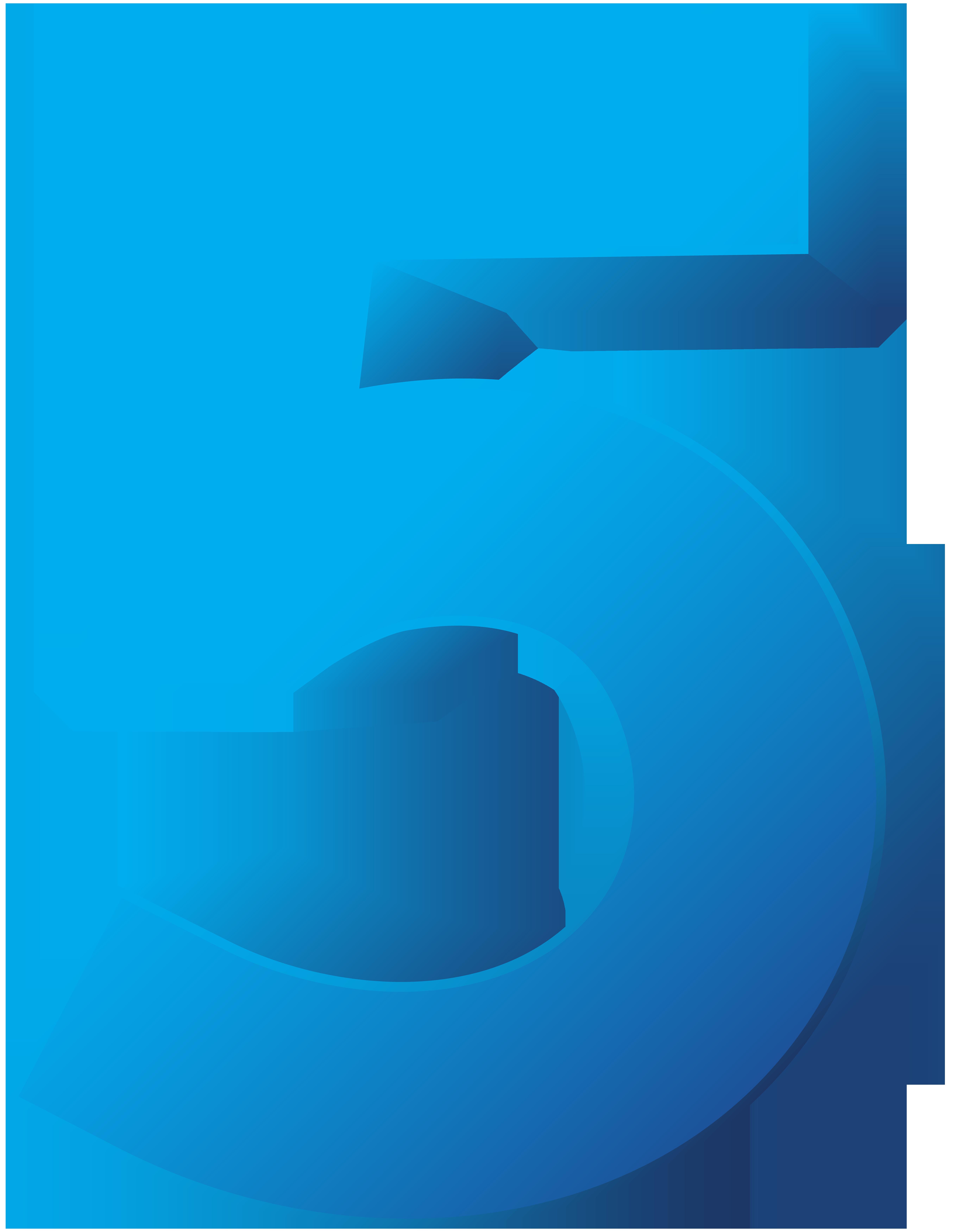 Blue Number Five Transparent PNG Clip Art Image.