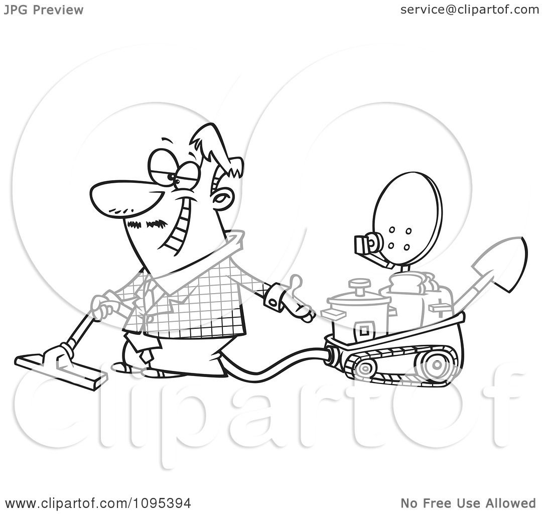 Clipart Black And White Outline Cartoon Male Inventor Introducing.