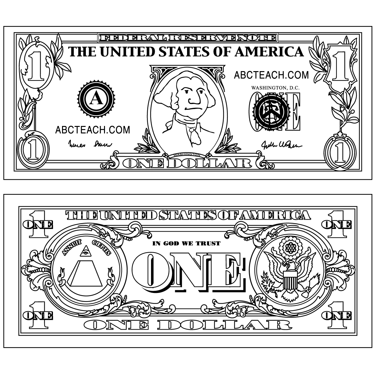 Clip Art: Five Dollar Bill Outline Back B&W.