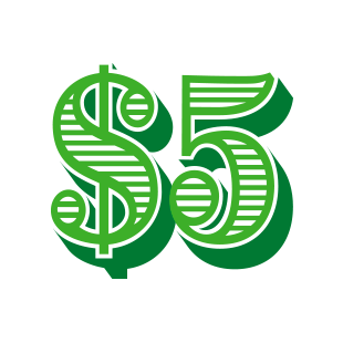 5 Dollar Bill Green free clipart.