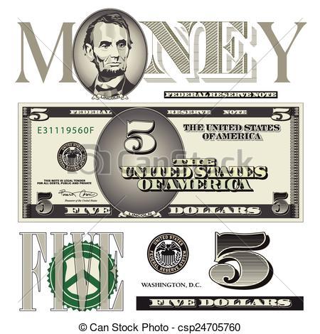 five dollar bill elements.