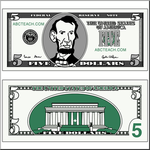 Clip Art: Five Dollar Bill Color I abcteach.com.