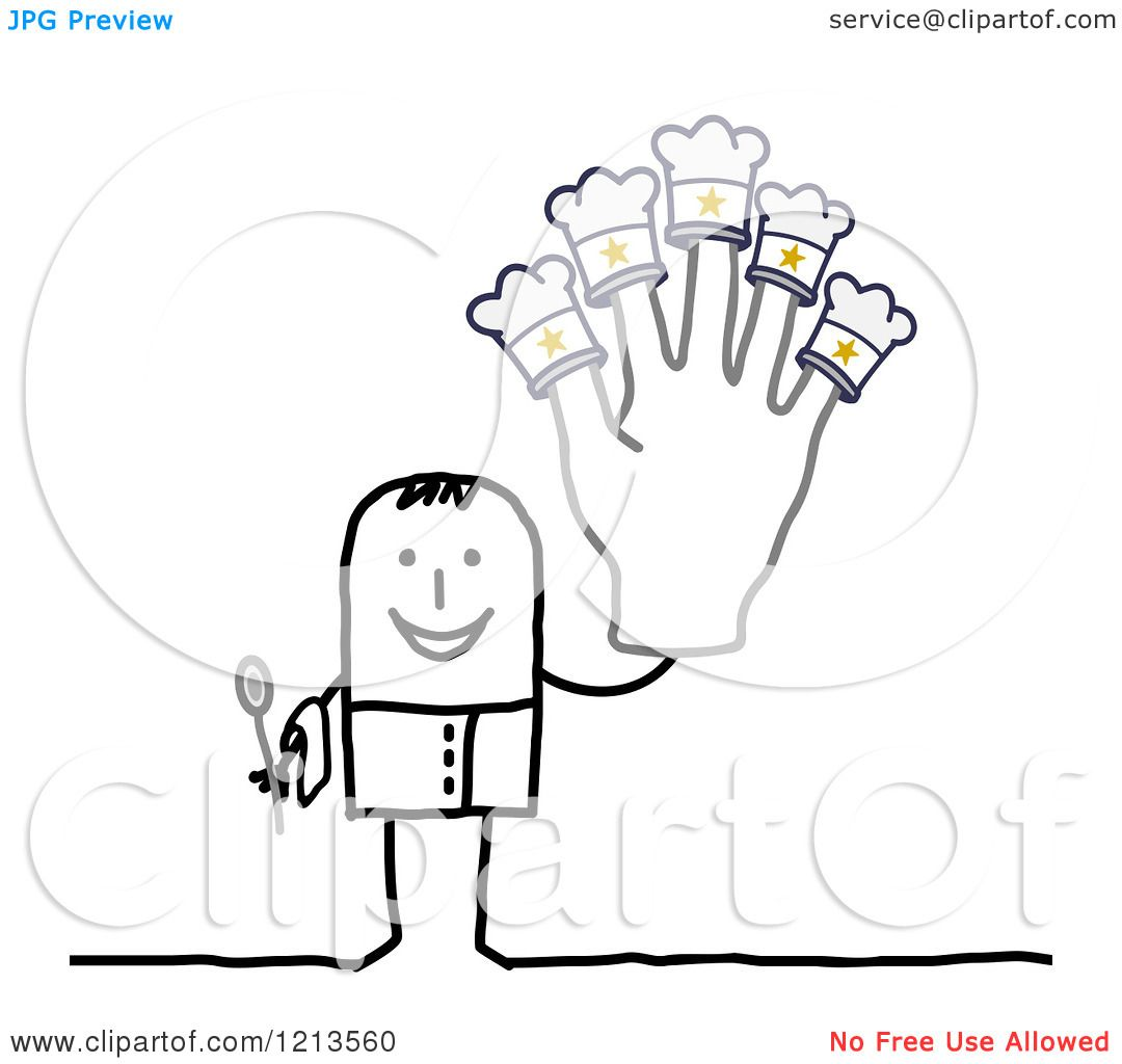 Clipart of a Stick People Man Chef Holding up a Five Star Hat Hand.