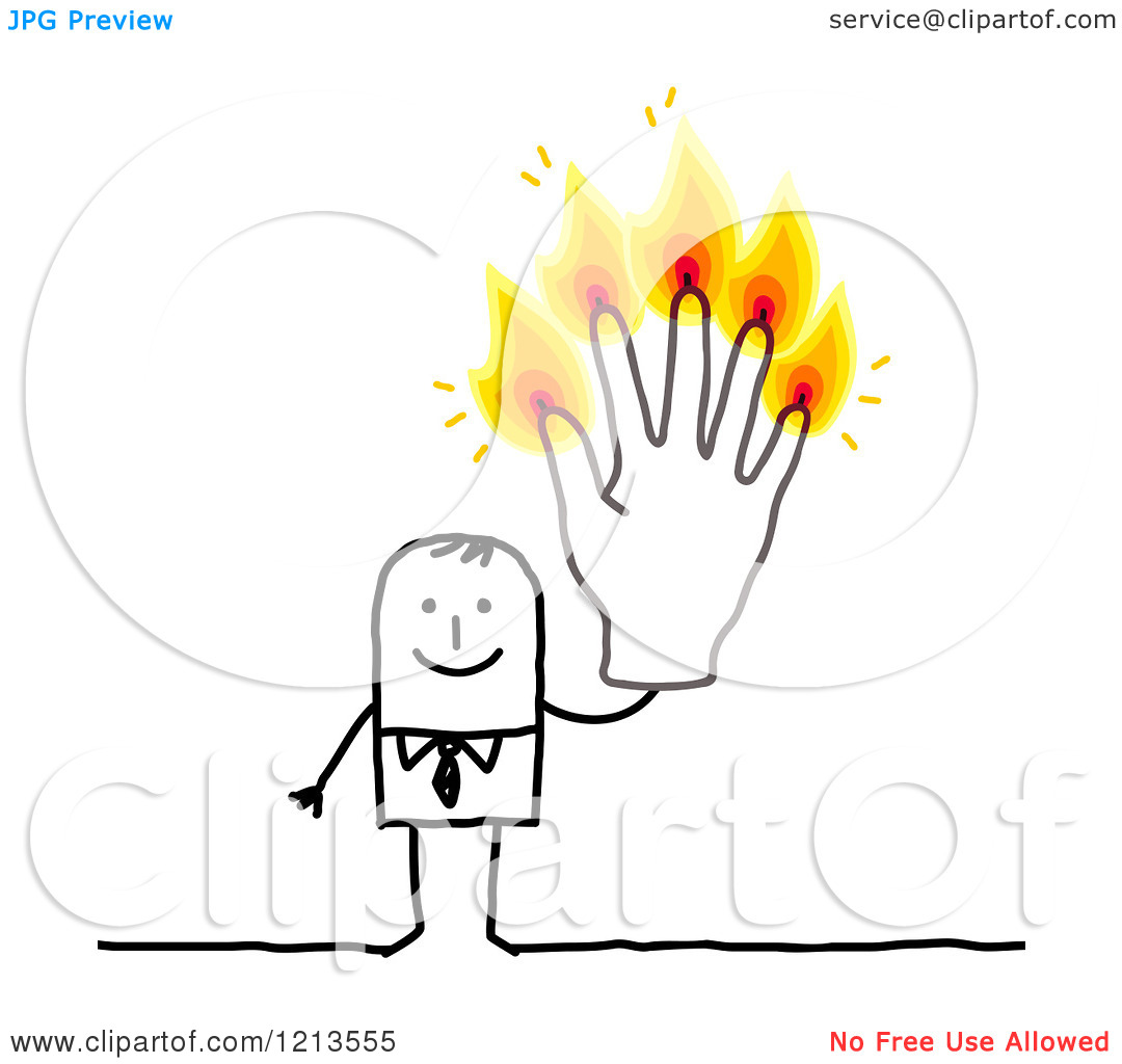 Clipart of a Stick People Business Man Holding up Five Burning.