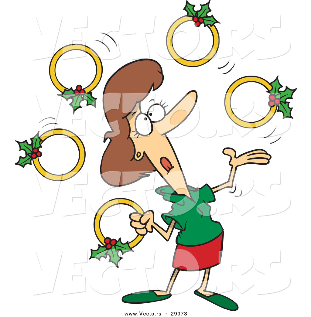 Cartoon Vector of a Woman Juggling Five Gold Christmas Rings by.