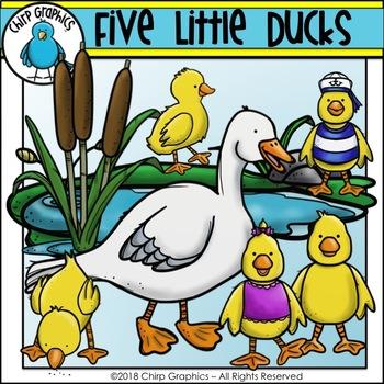 Five Little Ducks Clip Art Set.