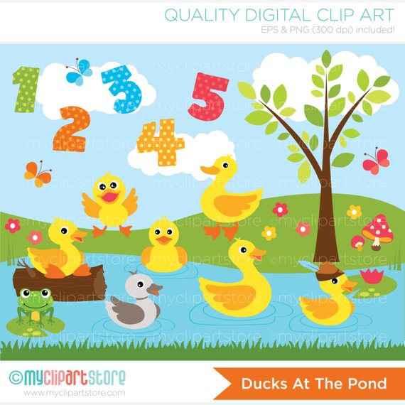 Ducks at the Pond Clipart, Five Little Ducks, Mother Goose.