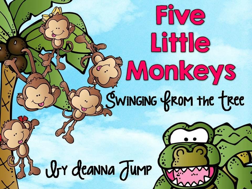 5 Little Monkeys Swinging In A Tree Clipart.