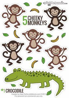 Five Little Mokeys In A Tree Clipart.