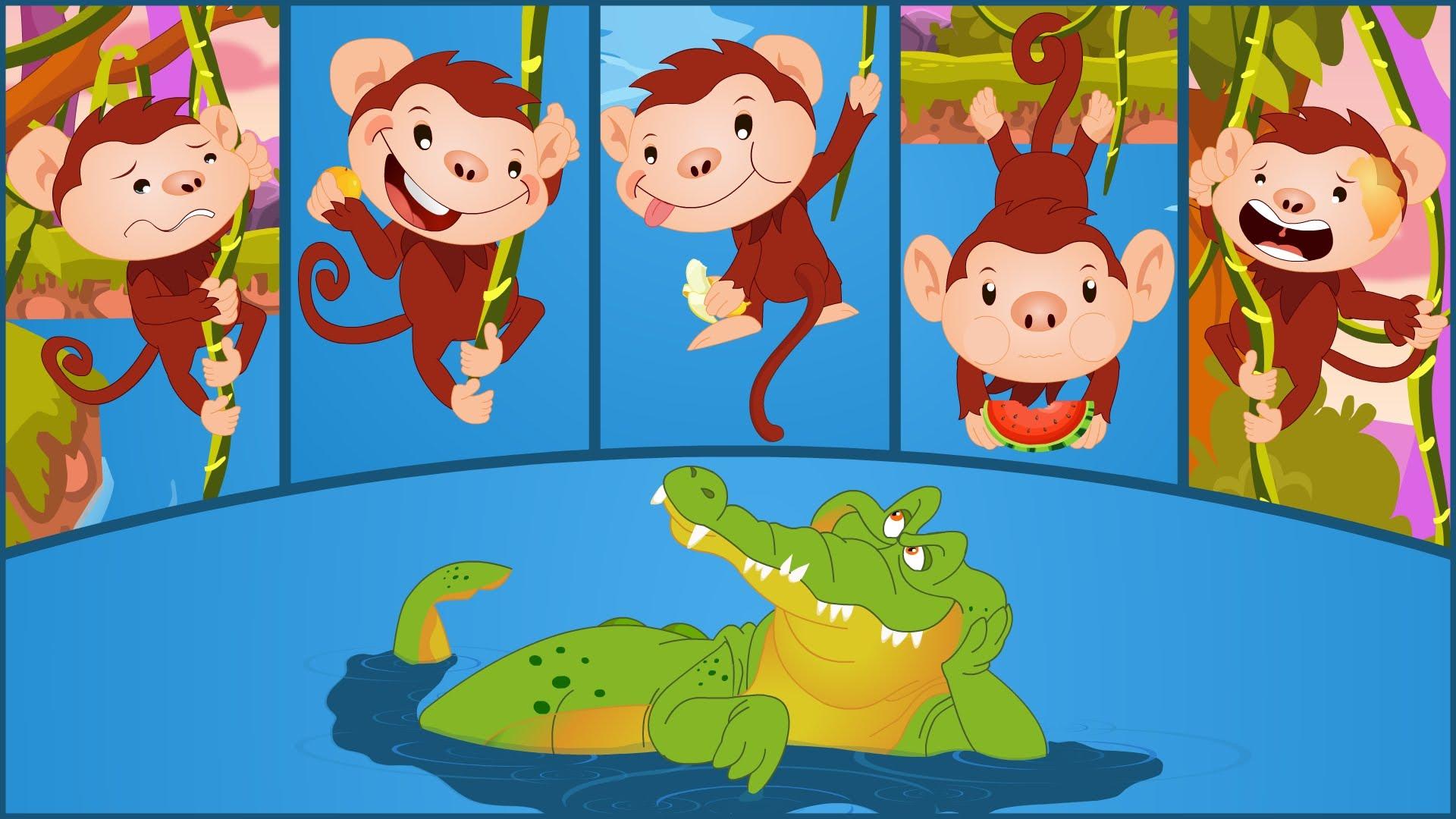 Five Little Monkeys Swinging In A Tree.