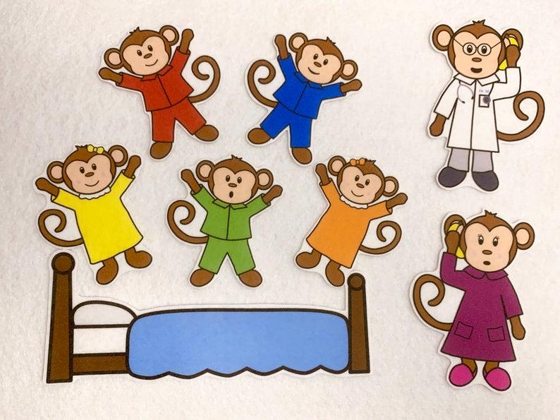 Five Little Monkeys Jumping on Bed Felt Stories.