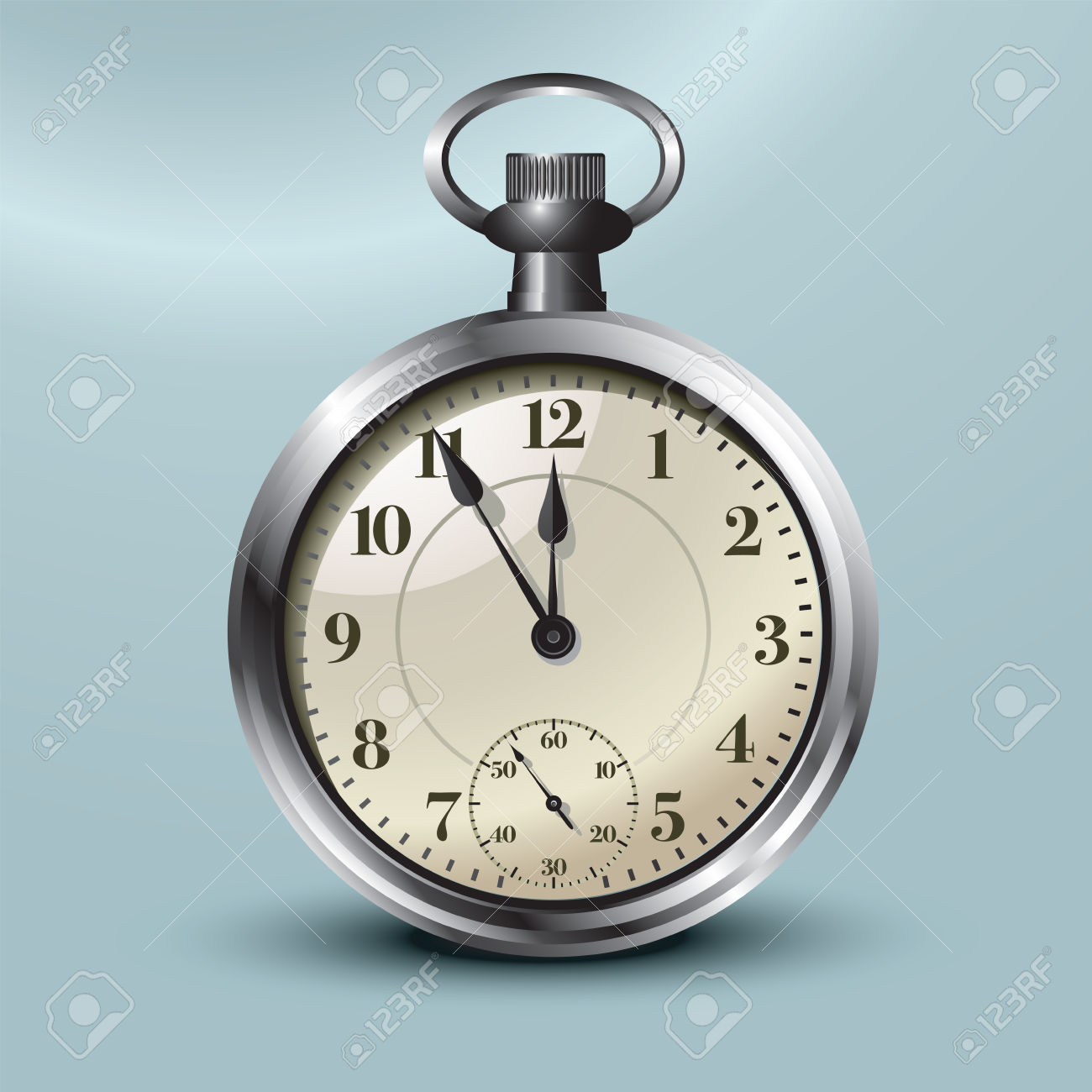 Pocket Watch Showing Five Minutes To Midnight Vector Illustration.