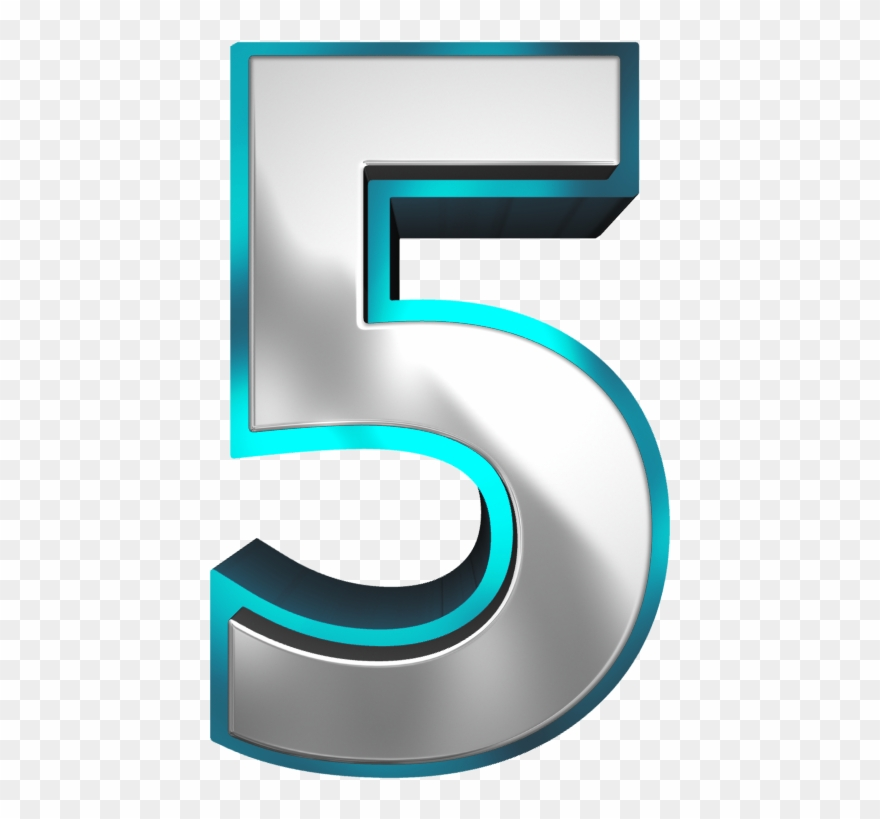 Metallic And Blue Number Five Png Clipart Image.