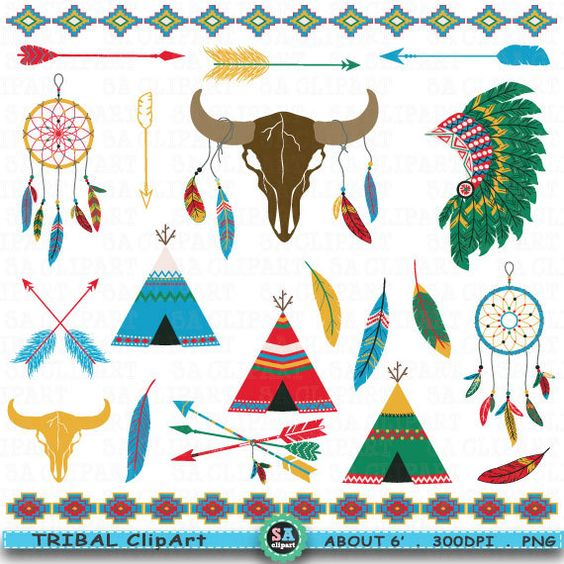 "Tribal ClipArt "" TRIBAL INDIAN ""clip art.Dream Catcher,Skull."