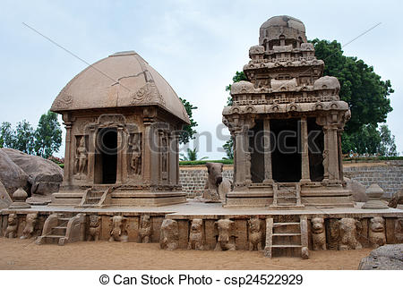 Stock Photo of Five rathas complex with in Mamallapuram, Tamil.