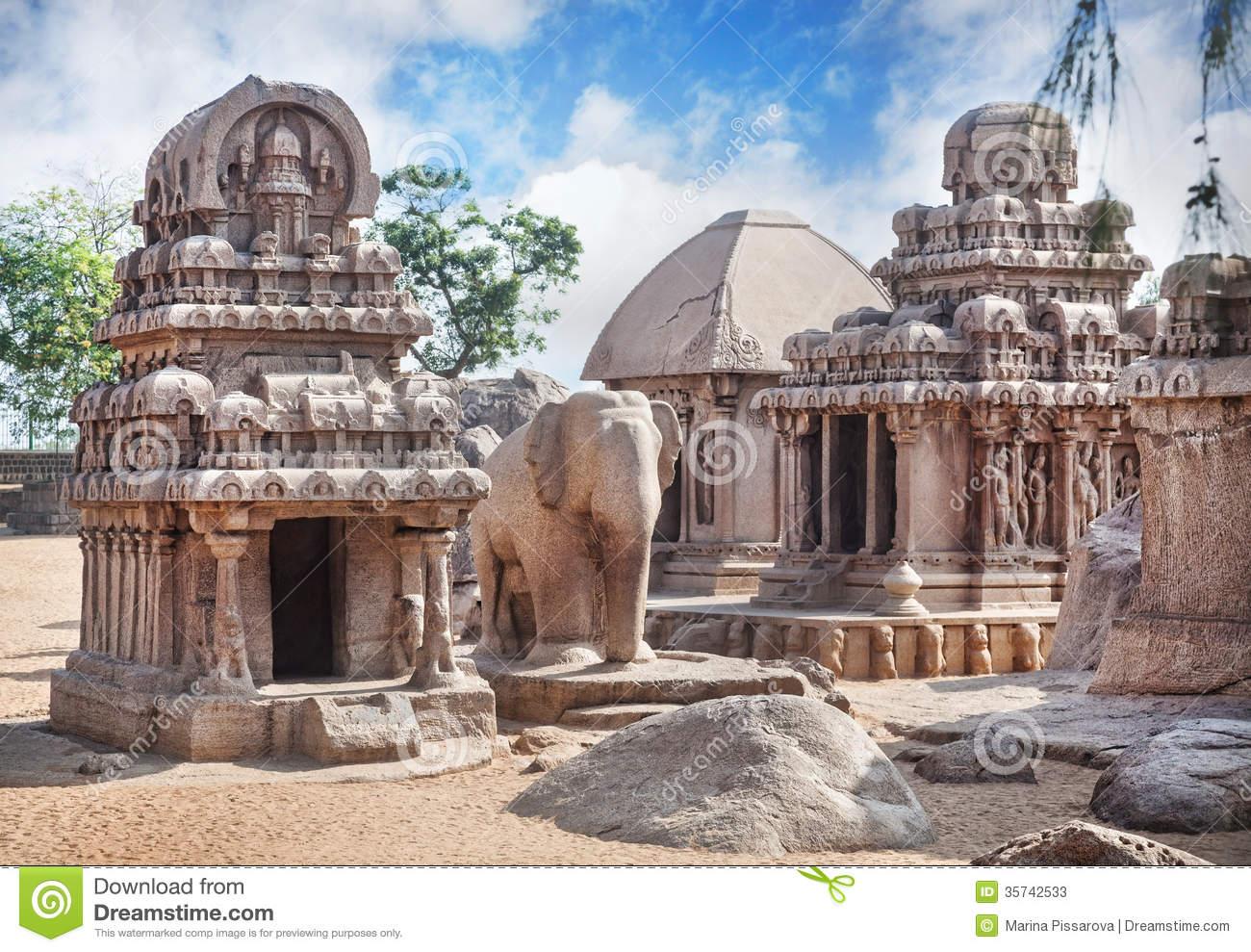Five Rathas In Mamallapuram Stock Photos.