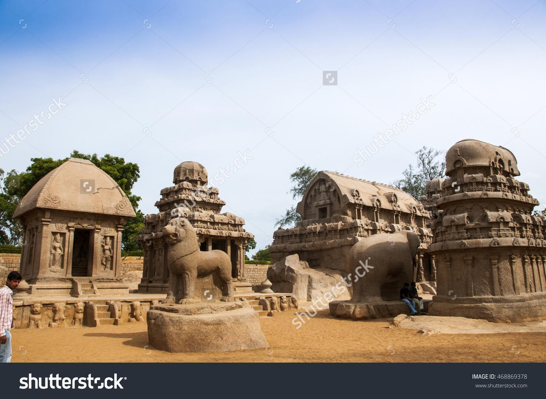 Five Rathas Monolithic Hindu Temple Mahabalipuram Stock Photo.
