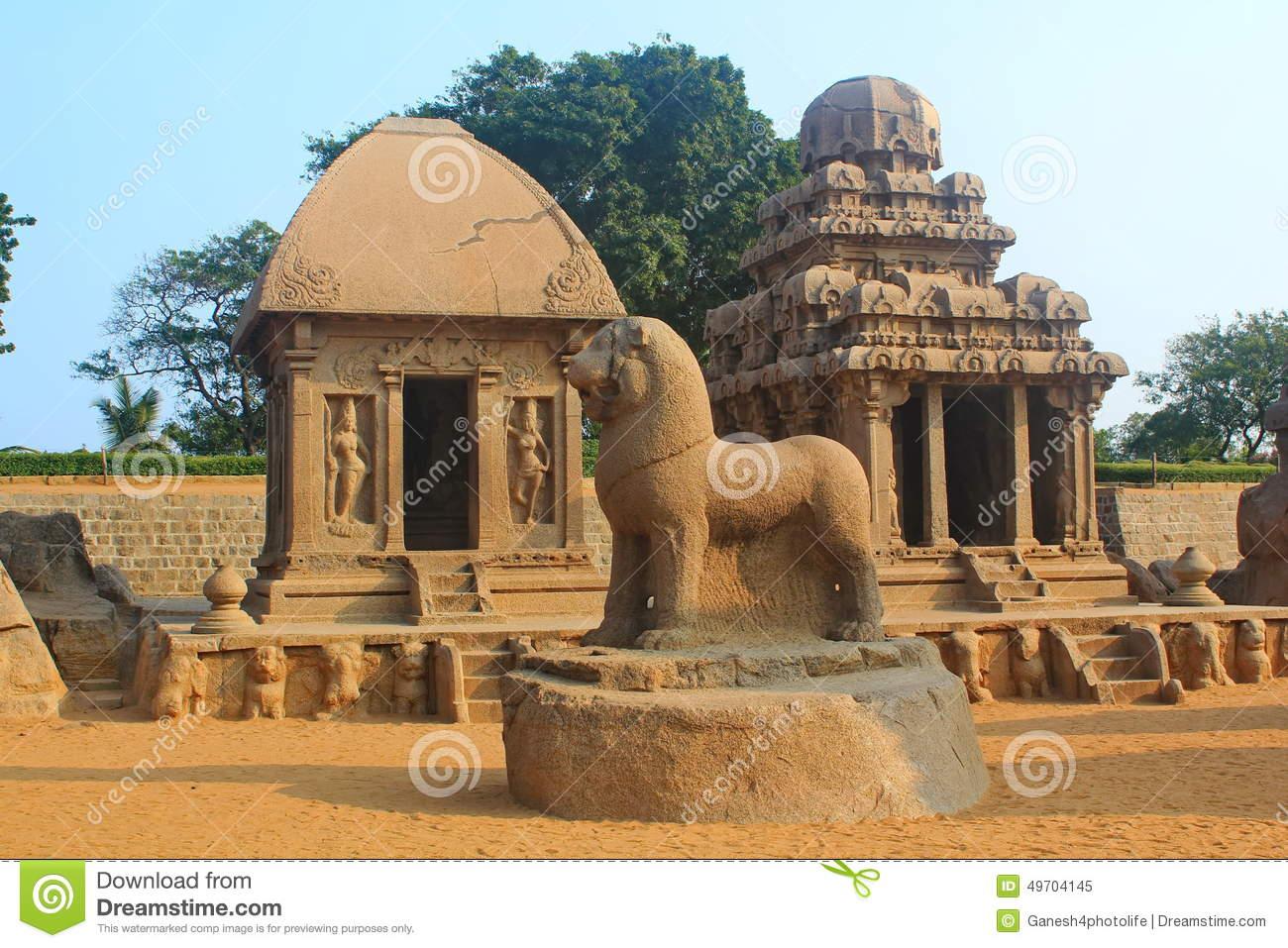 Monolithic Rock Cut Five Rathas At Mahabalipuram, India Editorial.