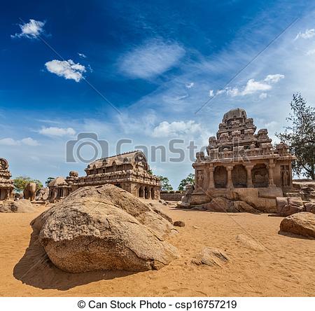 Stock Photography of Five Rathas. Mahabalipuram, Tamil Nadu, South.