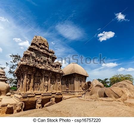 Stock Photo of Five Rathas. Mahabalipuram, Tamil Nadu, South India.