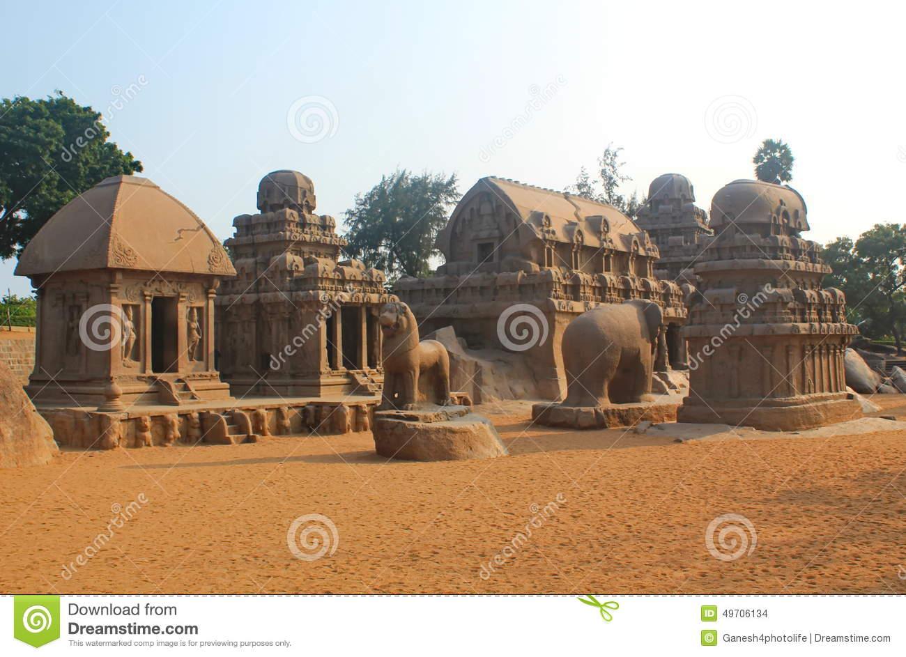 Five Rathas At Mahabalipuram, India Editorial Stock Image.